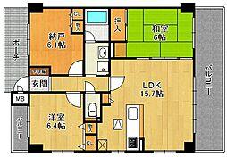 セントラル夙川東[1階]の間取り