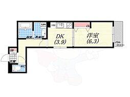 仮)北向陽町プロジェクト 3階1DKの間取り