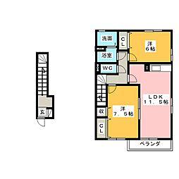 グランモアB[2階]の間取り