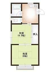 埼玉県春日部市谷原1丁目の賃貸アパートの間取り