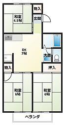 シャトレ新在家B[2階]の間取り