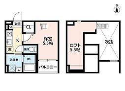 愛知県名古屋市南区呼続5丁目の賃貸アパートの間取り