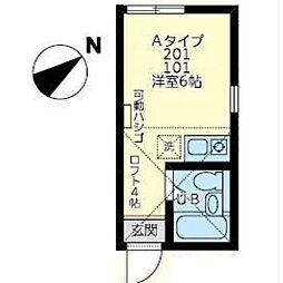 ユナイト田島ジャン・カルロ[201号室]の間取り