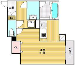 大阪府大阪市中央区西心斎橋2丁目の賃貸マンションの間取り