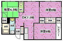 築地コーポ[1階]の間取り