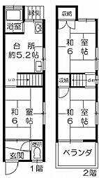[テラスハウス] 大阪府大阪市西淀川区姫島6丁目 の賃貸【/】の間取り