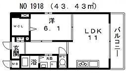 アベニール四天王寺[401号室号室]の間取り