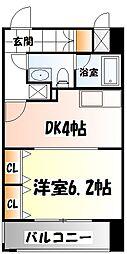 仙台市地下鉄東西線 川内駅 徒歩19分の賃貸マンション 7階1DKの間取り