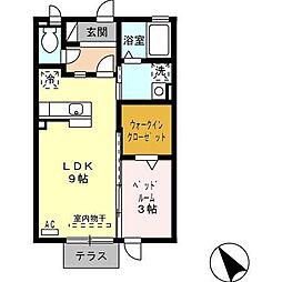 富山県富山市安養坊の賃貸アパートの間取り