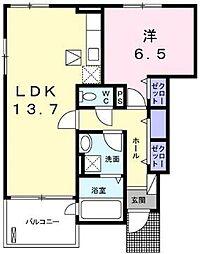 コスモス 1階1LDKの間取り
