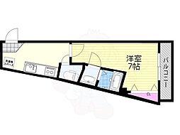 阪急京都本線 上新庄駅 徒歩5分の賃貸アパート 2階1Kの間取り