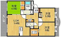 兵庫県三田市対中町の賃貸マンションの間取り
