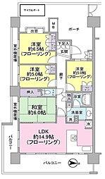 神奈川県川崎市幸区戸手4丁目の賃貸マンションの間取り