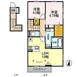 埼玉県川越市大字上戸の賃貸アパートの間取り