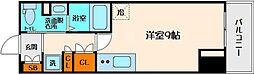 コンフォリア江坂 4階ワンルームの間取り