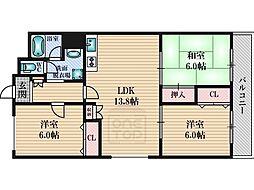 テラジハイツ3号館[3階]の間取り