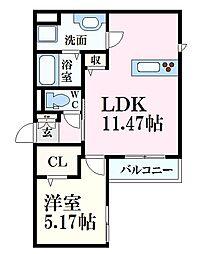 広島電鉄6系統 舟入川口町駅 徒歩4分の賃貸アパート 1階1LDKの間取り