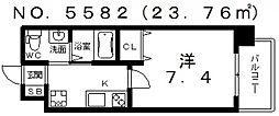 大阪府大阪市阿倍野区昭和町1丁目の賃貸マンションの間取り