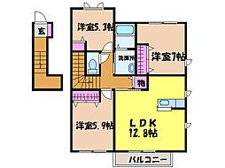 愛媛県松山市吉藤3丁目の賃貸アパートの間取り