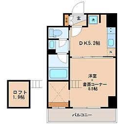 仙台市地下鉄東西線 連坊駅 徒歩7分の賃貸マンション 5階1DKの間取り