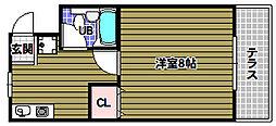 リバーサイド小車1号棟[2階]の間取り