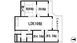 大阪府箕面市桜4丁目の賃貸マンションの間取り