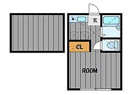 ハーミットクラブハウス四季美台B[2階]の間取り