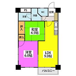 福岡県福岡市中央区平尾浄水町の賃貸マンションの間取り