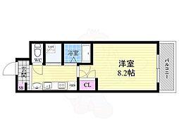 阪急京都本線 大宮駅 徒歩1分の賃貸マンション 4階1Kの間取り