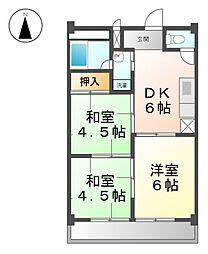愛知県稲沢市小池3丁目の賃貸マンションの間取り