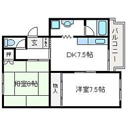 吉川マンション[102号室]の間取り