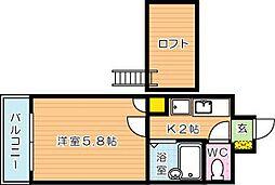 ロイヤルシャトー桃園[8階]の間取り