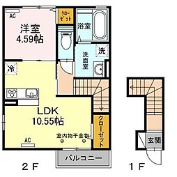 長野県長野市稲里1丁目の賃貸アパートの間取り