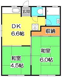 東京都練馬区石神井台8丁目の賃貸アパートの間取り