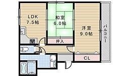 ヤマモトマンション[401号室]の間取り