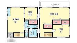 [一戸建] 大阪府豊中市岡上の町2丁目 の賃貸【/】の間取り