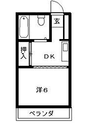 サンハイム朝田[2階]の間取り