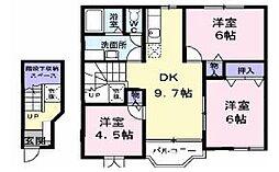 香川県坂出市川津町の賃貸アパートの間取り