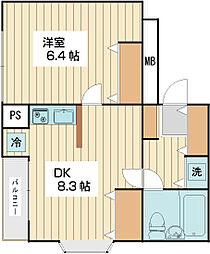 ローズマンションA1 3階1LDKの間取り