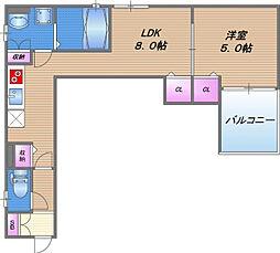 クリエオーレ東中浜 3階1LDKの間取り