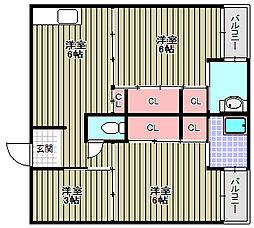 ビレッジハウス伏屋[4-204号室]の間取り