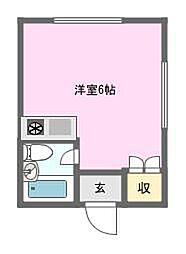 ペントハウス恵美須[3階]の間取り