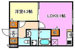 HCフラッツ須磨寺[1階]の間取り
