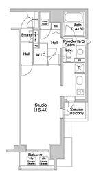 JR山手線 代々木駅 徒歩5分の賃貸マンション 6階ワンルームの間取り