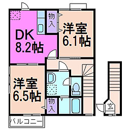 栃木県鹿沼市上殿町の賃貸アパートの間取り
