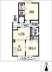 ダイヤ・フジ D棟[1階]の間取り
