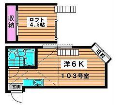 埼玉県川口市芝1丁目の賃貸アパートの間取り