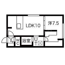 Rests on 旭山公園通 3階1LDKの間取り
