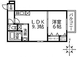 (仮称)フジパレス三島1丁目 3階1LDKの間取り