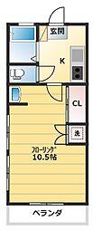 プチハイム[102号室]の間取り